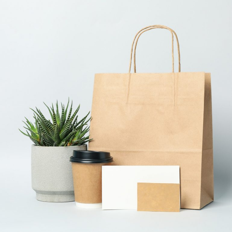 Food delivery mockup on light gray background, space for text